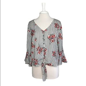 Takara Striped & Floral Blouse With Bell Sleeves